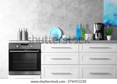 Modern kitchen interior, close up - stock photo