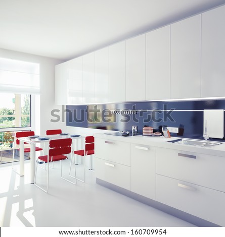 modern kitchen interior.contemporary concept - stock photo