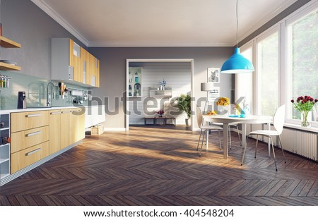 modern kitchen interior. 3d concept