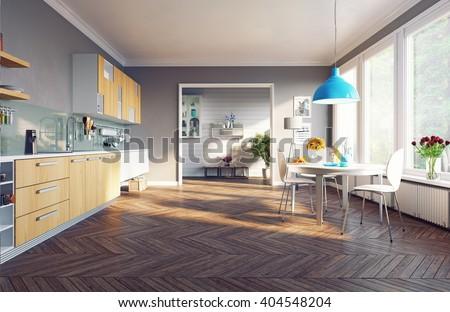 modern kitchen interior. 3d concept - stock photo