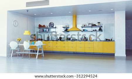 modern kitchen interior. 3d design concept illustration - stock photo