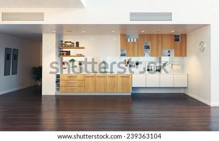 modern kitchen interior (3D illustration)  - stock photo