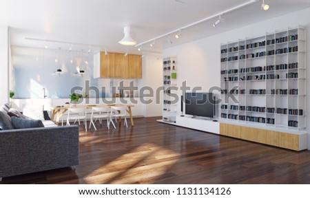 Modern Kitchen Interior 3 D Rendering Contemporary Stock ...