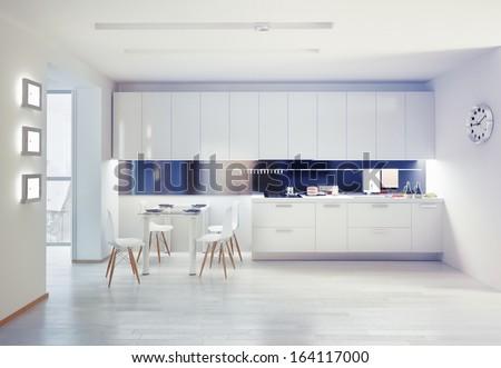 modern kitchen interior. design concept - stock photo