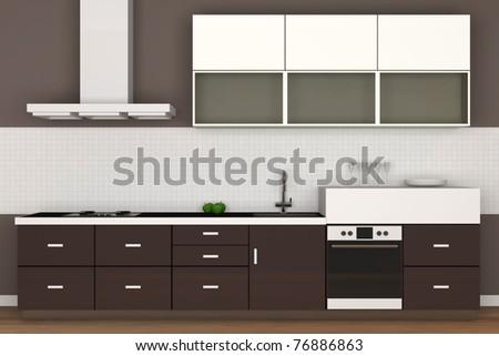 Modern Kitchen Interior (Hight Resolution 3D Image) - stock photo