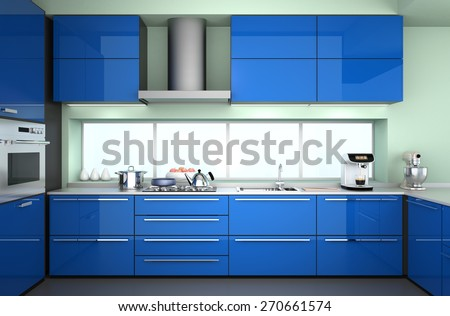 Modern kitchen interior in blue color theme. 3D rendering image.