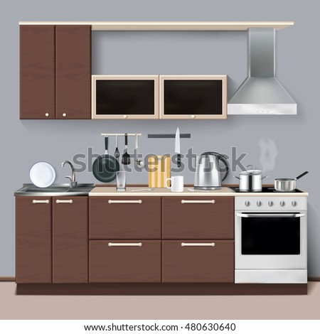 Modern kitchen interior in 3D realistic style with cabinets shelves utensils oven and cooker hood realistic  illustration
