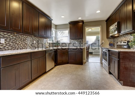 Modern Kitchen Interior Dark Brown Storage Stock Photo