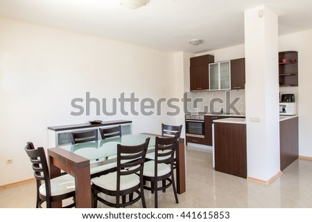 Modern kitchen interior with dinning room. Interior photography.