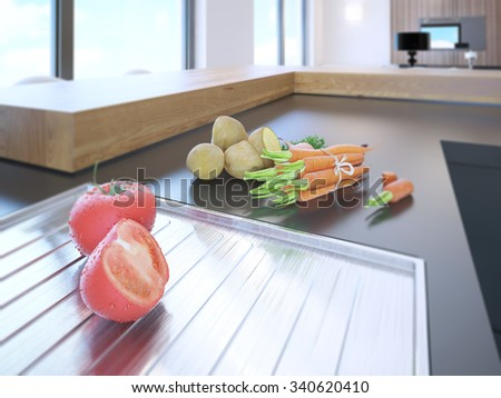 Modern kitchen interior with fresh vegetables on natural stone countertop - stock photo
