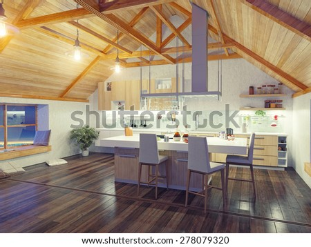 modern kitchen interior with island in the attic (3d design concept) - stock photo