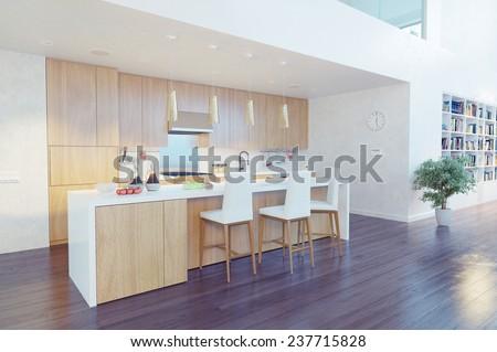 modern kitchen interior with kitchen island (CG concept) - stock photo