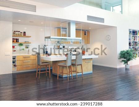 modern kitchen interior with kitchen island (3D design illustration)  - stock photo