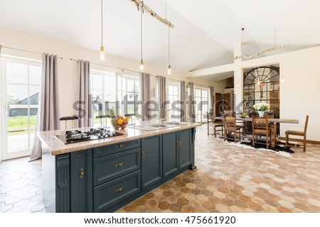Kitchen stock photo 558257677 shutterstock for Kitchens with islands in the middle