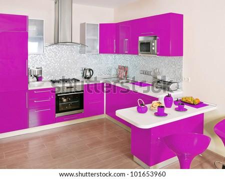 modern kitchen interior with magenta decoration - Magenta Kitchen Design