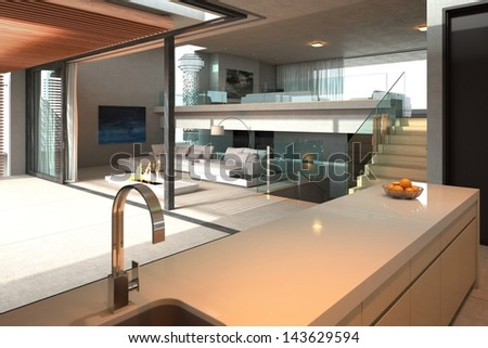 Modern kitchen interior with open room and couch - stock photo