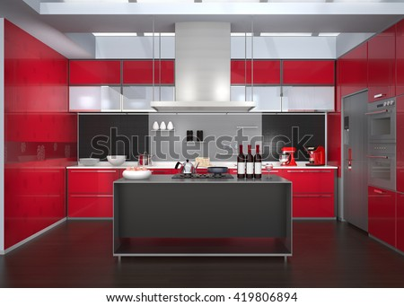 Modern kitchen interior with smart appliances in red color coordination. 3D rendering image. - stock photo