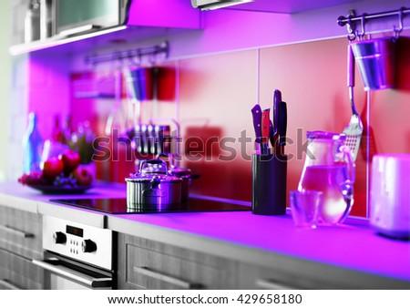 Modern kitchen interior with stove - stock photo