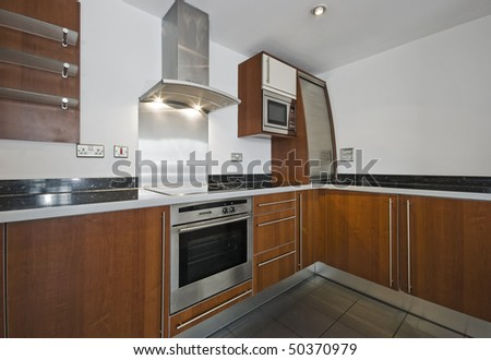 modern kitchen of a good size with hard wood finish