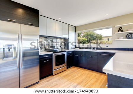 Modern kitchen room design - stock photo