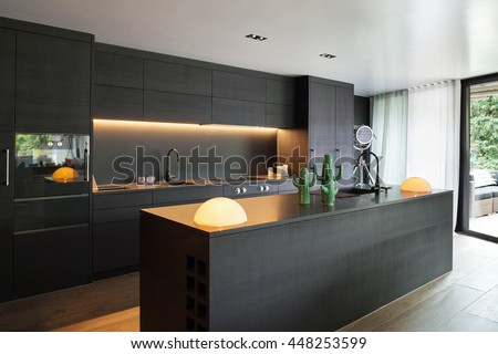 Black Modern Kitchen modern kitchen black furniture wooden floor stock photo 448253599