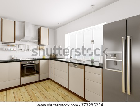 Modern kitchen with black granite counter interior 3d rendering - stock photo