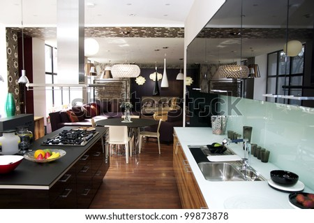 modern kitchen with gas stove top and - stock photo