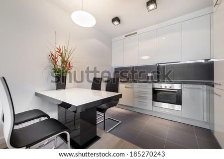 Modern Kitchen Tile Flooring modern kitchen gray tile floor white stock photo 185270243
