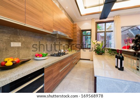 modern kitchen with nice cabinet