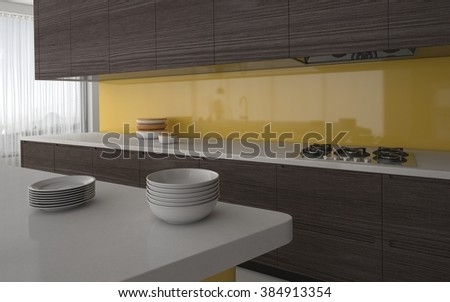 Modern kitchen with yellow splash back and grey cabinetry with a view past stacked plates to the electric hob. 3d Rendering. - stock photo