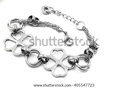 Modern Ladies steel bracelet. White background