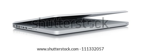 Modern Laptop. High resolution illustration isolated on white, clipping path included.