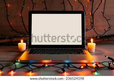 Modern Laptop in a Christmas Setting