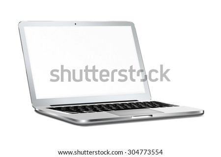 Modern laptop in macbooke style mockup with screen and shadows isolated on white background. Highly detailed illustration.