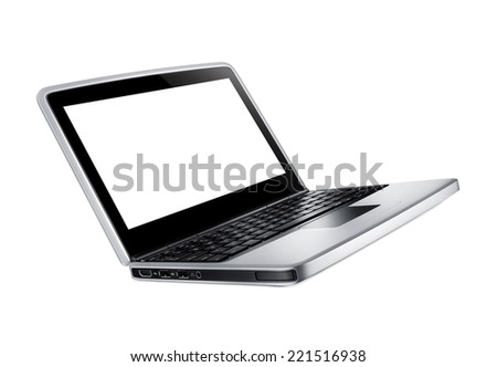 Modern laptop isolated - stock photo