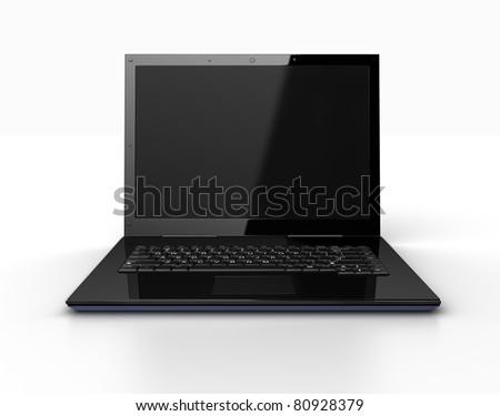 Modern laptop isolated - stock photo