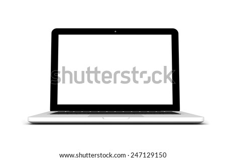 Modern laptop isolated on white. - stock photo