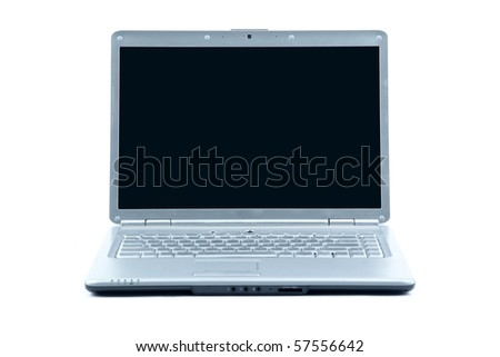 Modern laptop isolated on white - stock photo