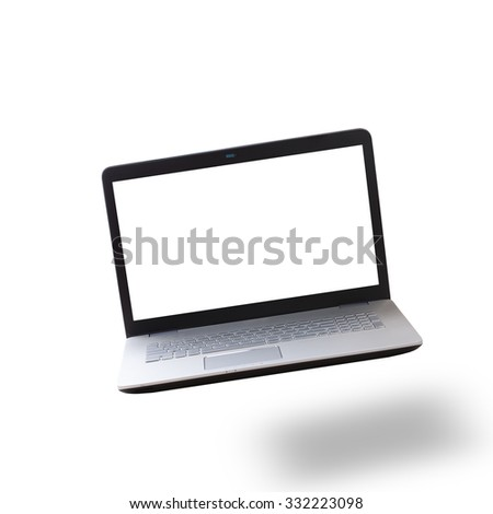 Modern laptop isolated on white background. Mock up for design. Front view unusual perspective. - stock photo