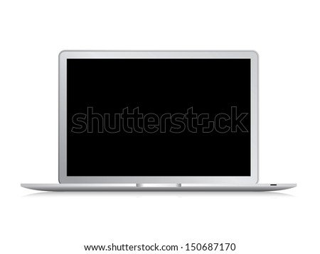 Modern laptop isolated on white background with area for copy space