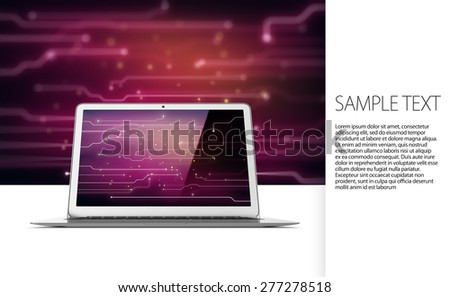 Modern laptop on tech background with text - stock photo
