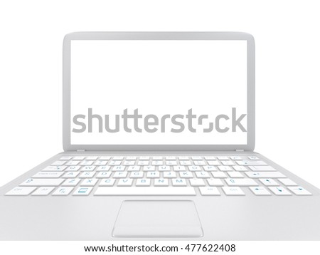 Modern Laptop PC with blank LCD screen isolated on white background