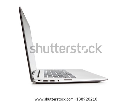 Modern laptop side view, on white background. - stock photo