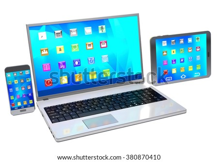 Modern laptop, tablet pc and mobile phone on white background. - stock photo