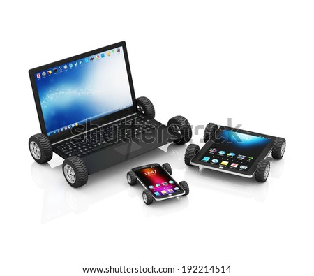 Modern Laptop, Tablet PC and Touchscreen Smartphone on Wheels isolated on white background - stock photo
