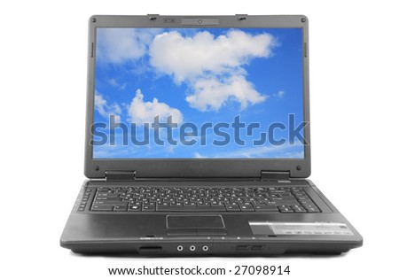 Modern laptop with a sky photo on the screen - stock photo