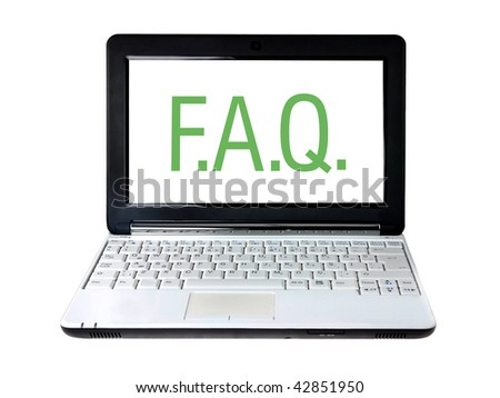 Modern laptop with FAQ text on screen isolated on white