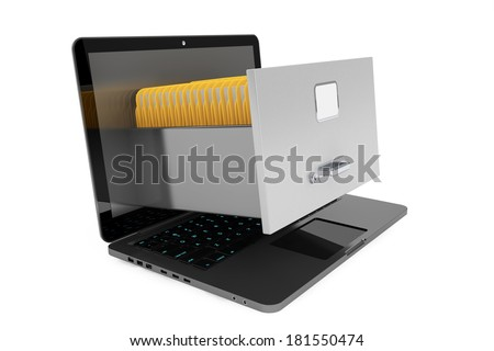 Modern laptop with file cabinet on a white background