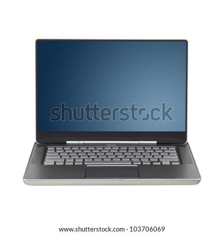 Modern laptop with two clipping paths: one for for screen, one for laptop