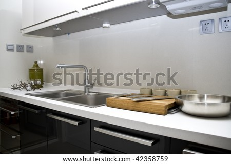 modern large kitchen of home - stock photo